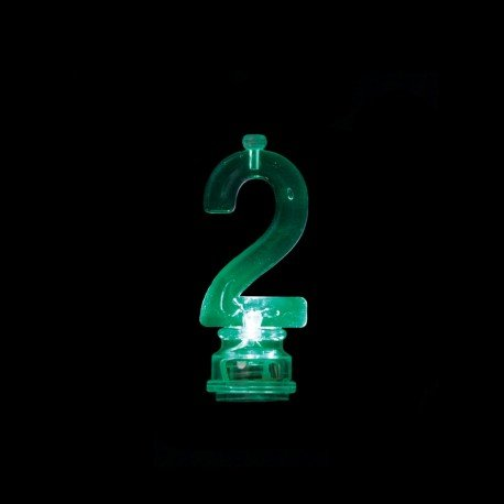 Número 2 Intermitente con 4 Velas