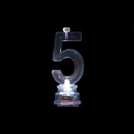 Número 5 Intermitente con 4 Velas