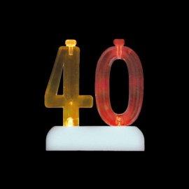 Número 40 Intermitente con 4 Velas